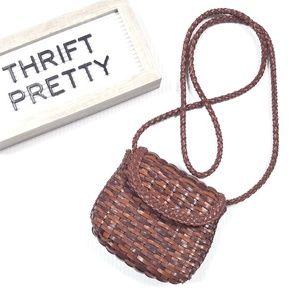 Vintage Mini Crossbody Woven Leather Purse Brown